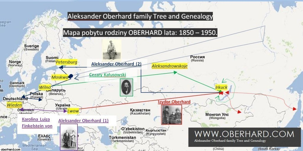 Mapa pobytu rodziny OBERHARD lata: 1850 – 1950.