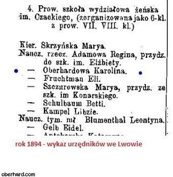 Karolina Oberhardowa w wykazie urzedników we Lwowie (1894)