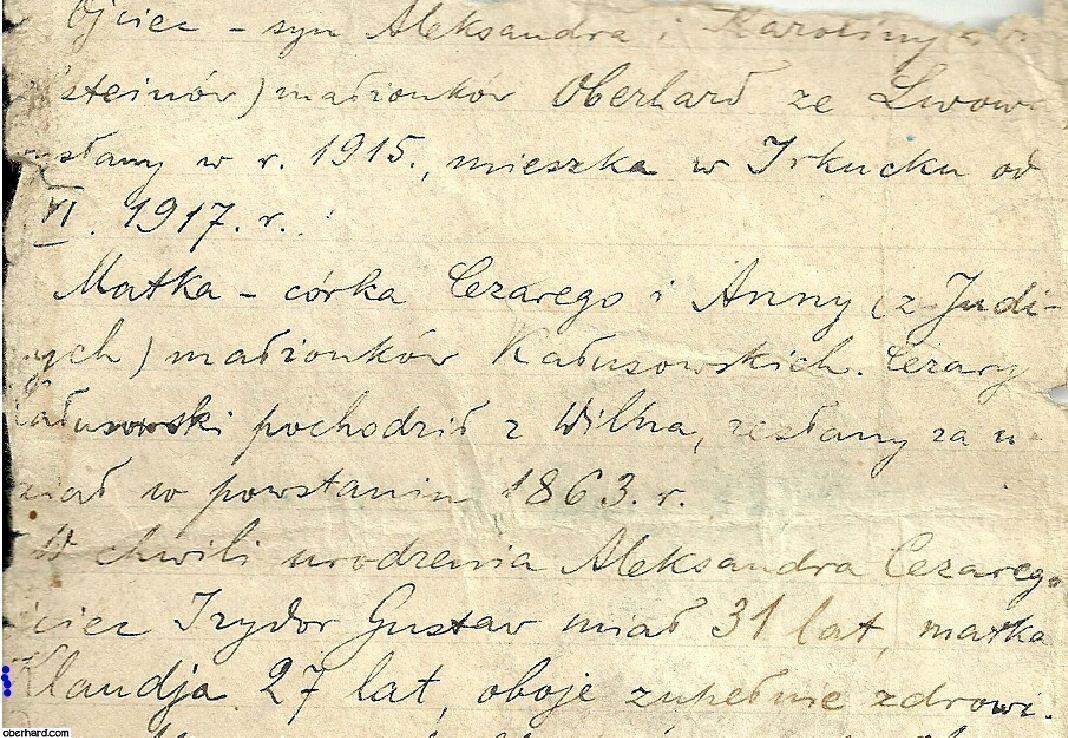 Pamiętnik Klaudii Oberhard - archiwa rodzinne ( 1919 r. )