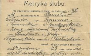 Akt ślubu Irena Tarlowska i Stanislaw Wolosowicz