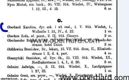 Karolina Oberhard lista uchodzcow ze Lwowa 1914 - adres rodzinnego domu w Wiedniu.
