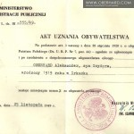 Przyznanie obywatelstwa polskiego Aleksander II Oberhard