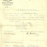 1922 r. Świadectwo Ireny Marianny Tarłowskiej podpisane przez Witkiewicza.