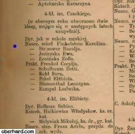 Szematyzm 1880 - Karolina OBERHARD nauczycielka młodsza