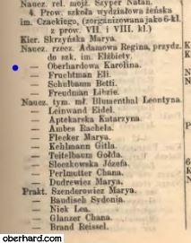 Szematyzm 1895 - Karolina OBERHARD nauczycielka rzeczowa
