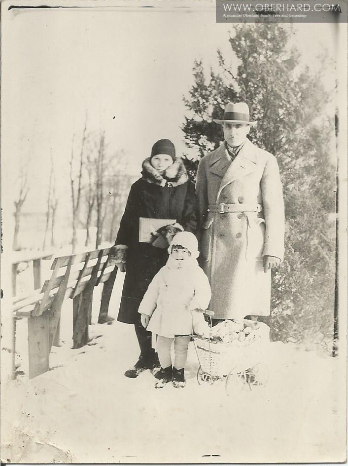Rok 1931. Wyprawa do Łazienek zimą. Rodzina Wołosowicz.